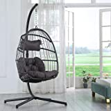 Brafab Swing Egg Chair,Hammock Chair, Hanging Chair, Aluminum Frame and UV Resistant Cushion with Steel Stand, Indoor Outdoor