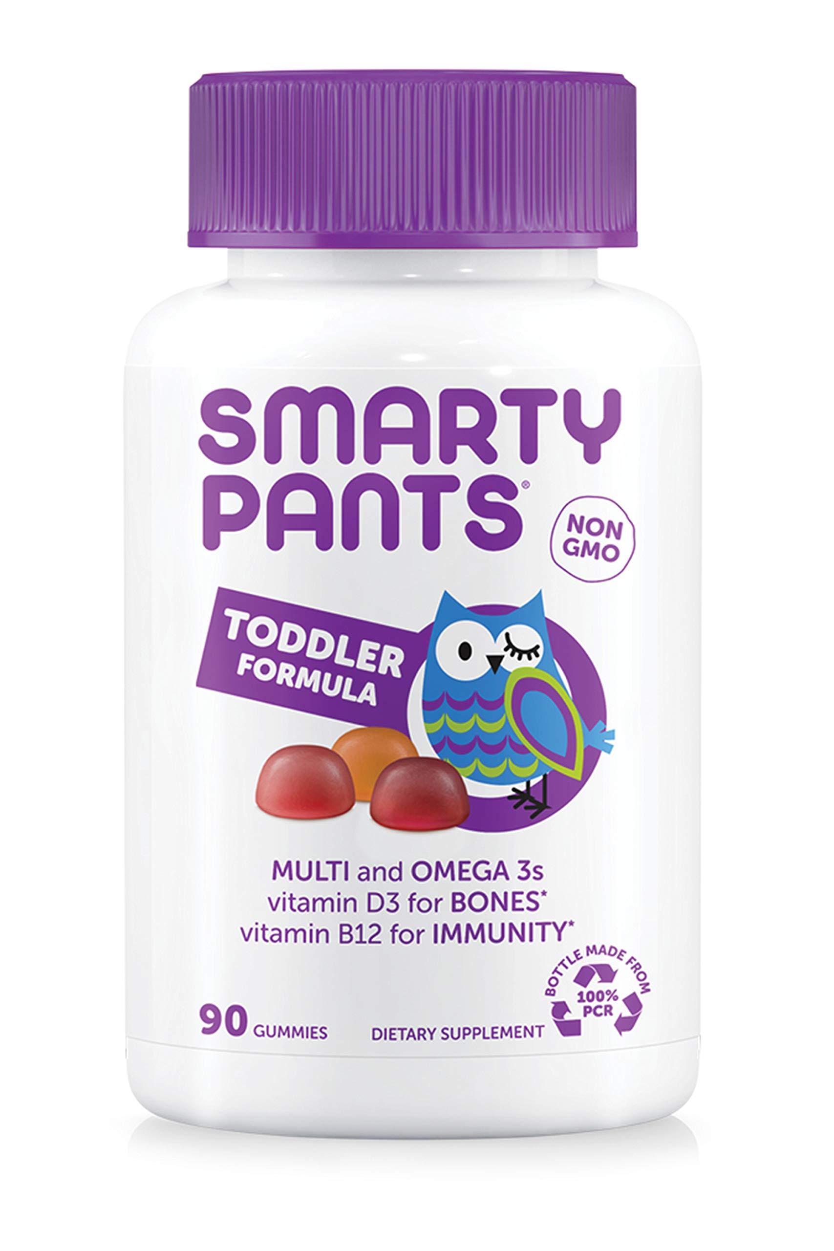 SmartyPants Toddler Formula Daily Gummy Multivitamin: Vitamin C, D3, & Zinc for Immunity, Gluten Free, Omega 3 Fish Oil (DHA/EPA), Antiviral, Vitamin B6, Methyl B12, 90 Count (30 Day Supply)