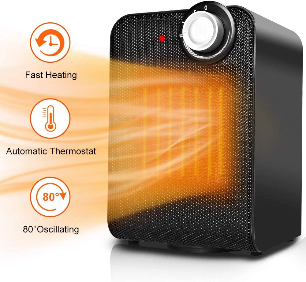 Portable Space Heater Fan - Small Ceramic Electric Oscillating Personal Space Heater for Office w/Adjustable Thermostat, 1500W Fast Heating, Overheat & Tip-over Protection for Desk Home & indoor Use