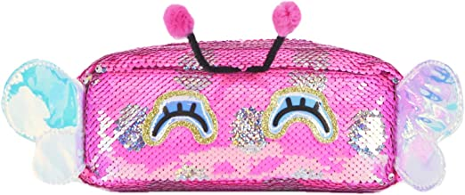 Cute Pencil Case for Kids & Sequin Cosmetic Brush Bag for Women,Reversible Glitter Handbag Makeup Organizer Purse,Travel Storage Pouch (Rose Red Butterfly)