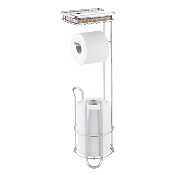 Amazoncom Mdesign Free Standing Toilet Paper Holder With Shelf For