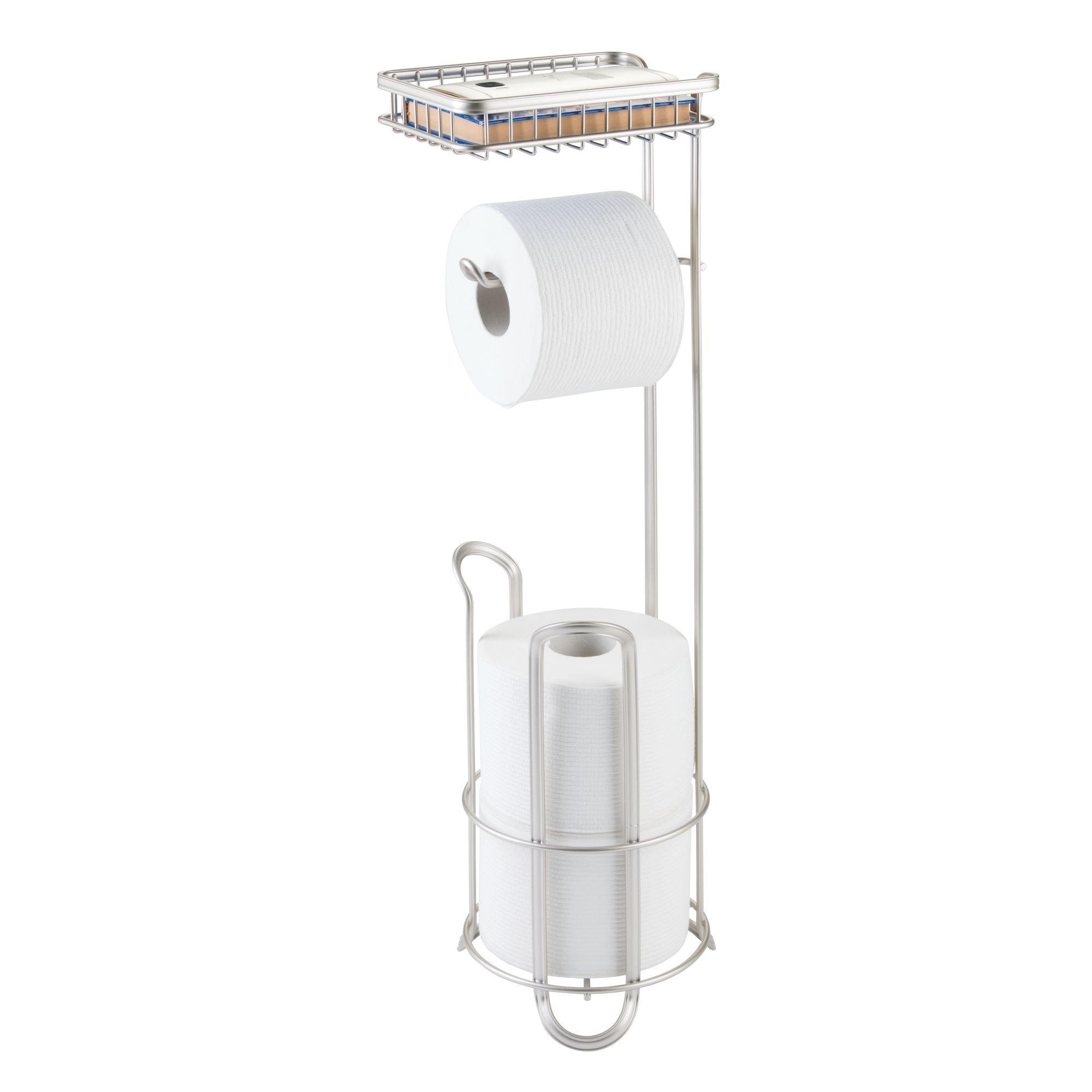 mDesign Free Standing Toilet Paper Holder with Shelf for Bathroom - Matte Satin