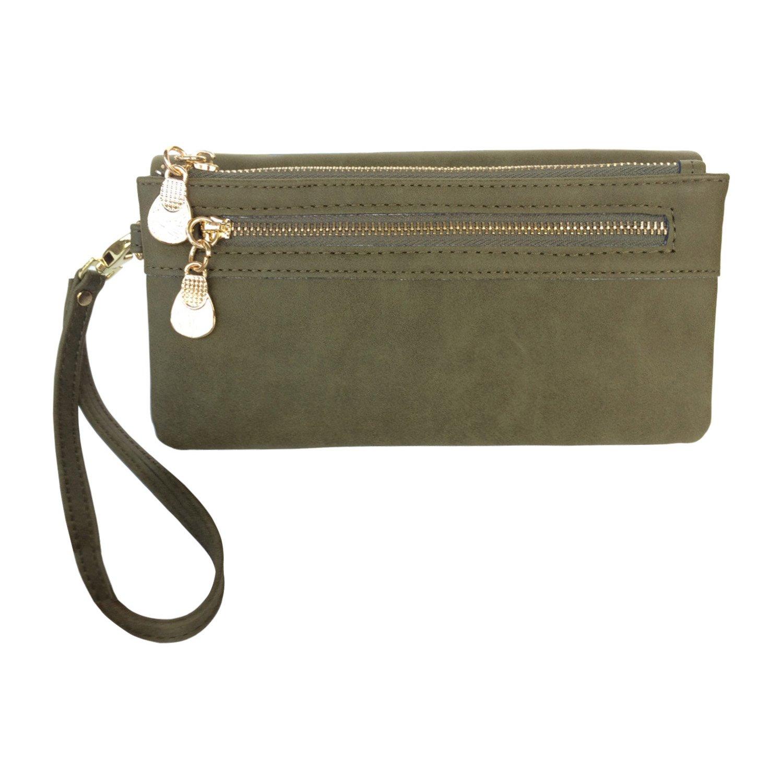 Women's Wristlet Wallet FanCarry PU Leather Clutch Purse Card Organizer w/ Front Zipper Pockets (Olive Green)
