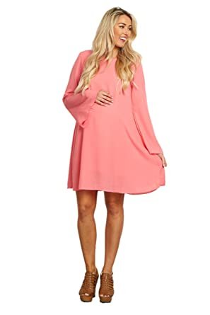 7e6f98c444c4 Image Unavailable. Image not available for. Color: PinkBlush Maternity Coral  Chiffon Bell Sleeve Dress ...