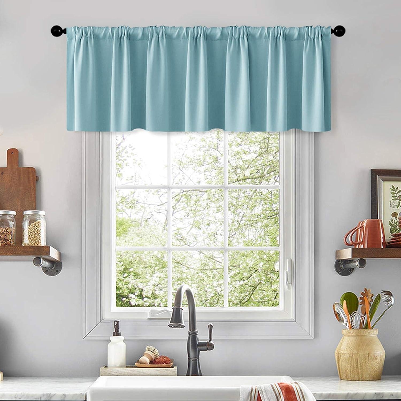 MRTREES Valance Christmas Curtains Sky Blue 16 inches Holiday Kitchen Curtain Valances Living Room Darkening Bathroom Small Xmas Window Treatment 1 Panel Rod Pocket