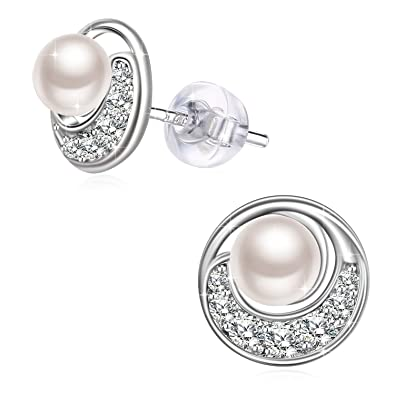 517a15e09 ... Pearl Earrings&Necklaces 925 Sterling Silver, Pearl Jewellery Enchanted  Best Gifts for Women with Gift Packed (Earrings, Sterling Silver): Amazon.co .uk: ...