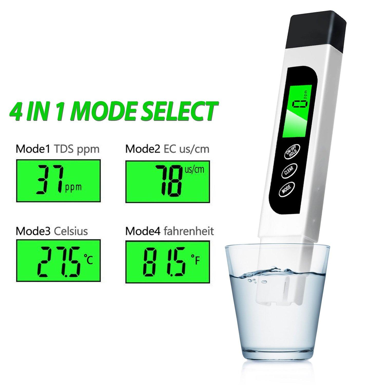 Aquariums Digital 3/in 1/EC TDS Meter Water Quality Tester Meter Temperature and Humidity Meter Etc. Measuring Range 0/~ 9999ppm Water Tester for Water