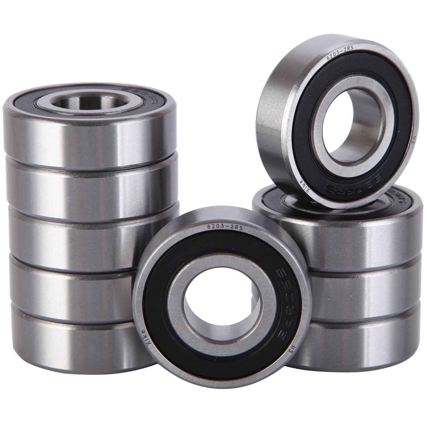 XiKe 10 Pack 6203-2RS Bearings 17x40x12mm, Stable Performance and Cost-Effective, Double Seal and Pre-Lubricated, Deep Groove Ball Bearings.