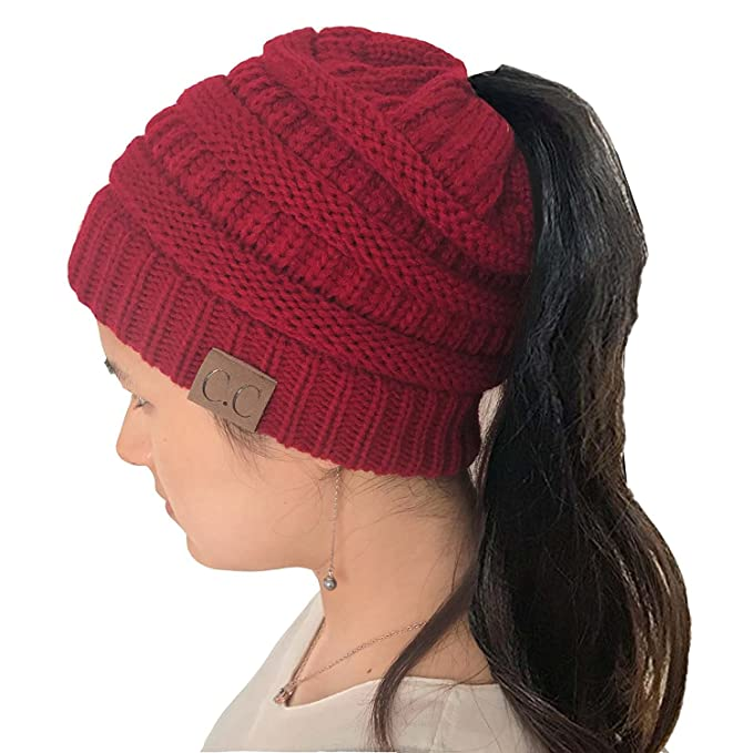 965ee72ec Womens Beanie Tail Ponytail Winter Warm Stretch Cable Messy High Bun Knit  Hat