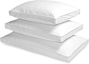 Blue Ridge Home Fashions 600 Thread Count Grand Horizon Damask Check Double Cover Side Sleeper Down Pillow, Queen, White