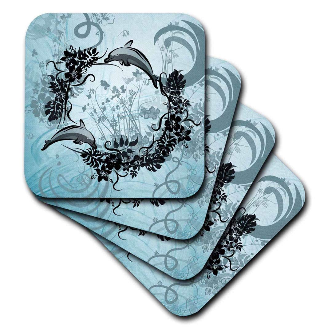 3drose Heike KöhnenデザインSea Life – Cute Dolphins花で – コースター set-of-4-Ceramic cst_254579_3 set-of-4-Ceramic  B072BBL864