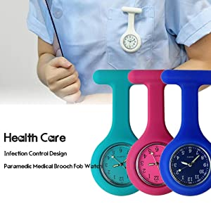 Nurse Watch Brooch, Silicone with Pin/Clip, Glow Pointer in Dark, Infection Control Design, Health Care Nurse Doctor Paramedic Medical Brooch Fob Watc