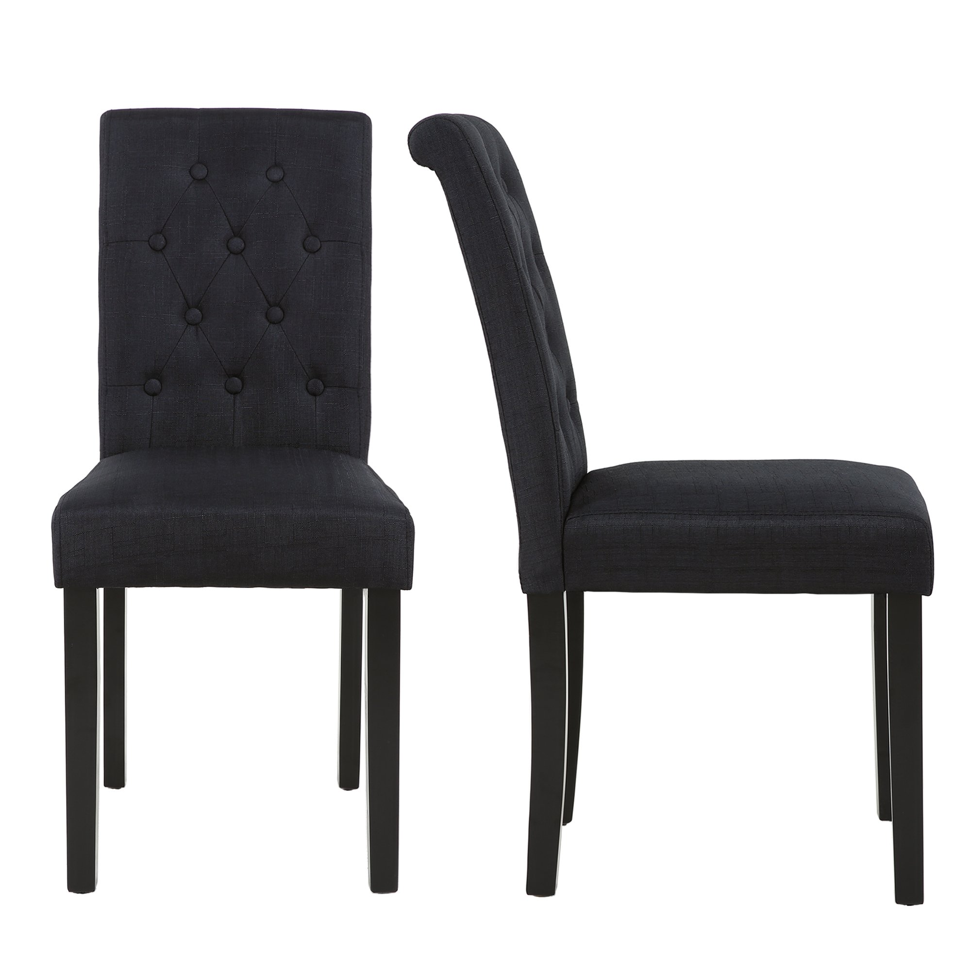 Set of 2 Upholstered Fabric Dining Chair with Button-Tufted Details (Black)