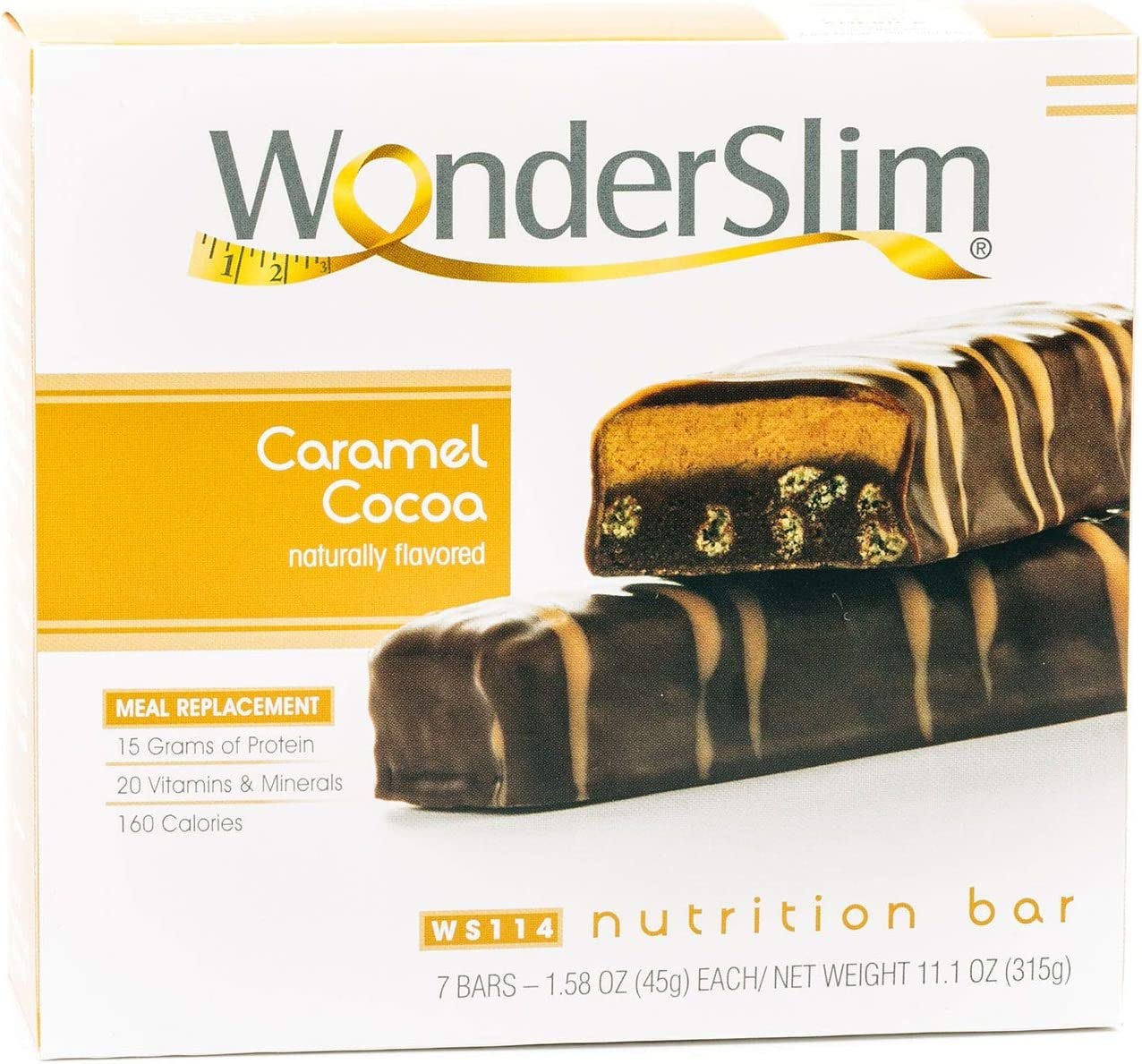 WonderSlim Meal Replacement Protein Bar – Low Carb Nutrition Bar for Women Men – Caramel Cocoa – High Fiber, Keto Friendly, Gluten Free, Weight Loss Diet Snack Bar 7ct