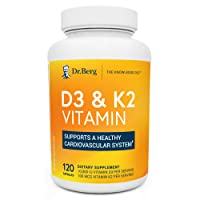 Dr. Berg's D3 & K2 Vitamin - D3K2 Supplement w/ Purified Bile Salts - Support Healthy Heart, Bone & Joint - 10,000 IU of Vitamin D3 & 100 mcg of Vitamin K2 MK7 - 120 Capsules