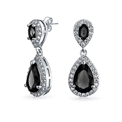 GULICX Royal Teardrop Cubic Zirconia CZ Dangle Earrings Drops White Gold Plated Ospl26u