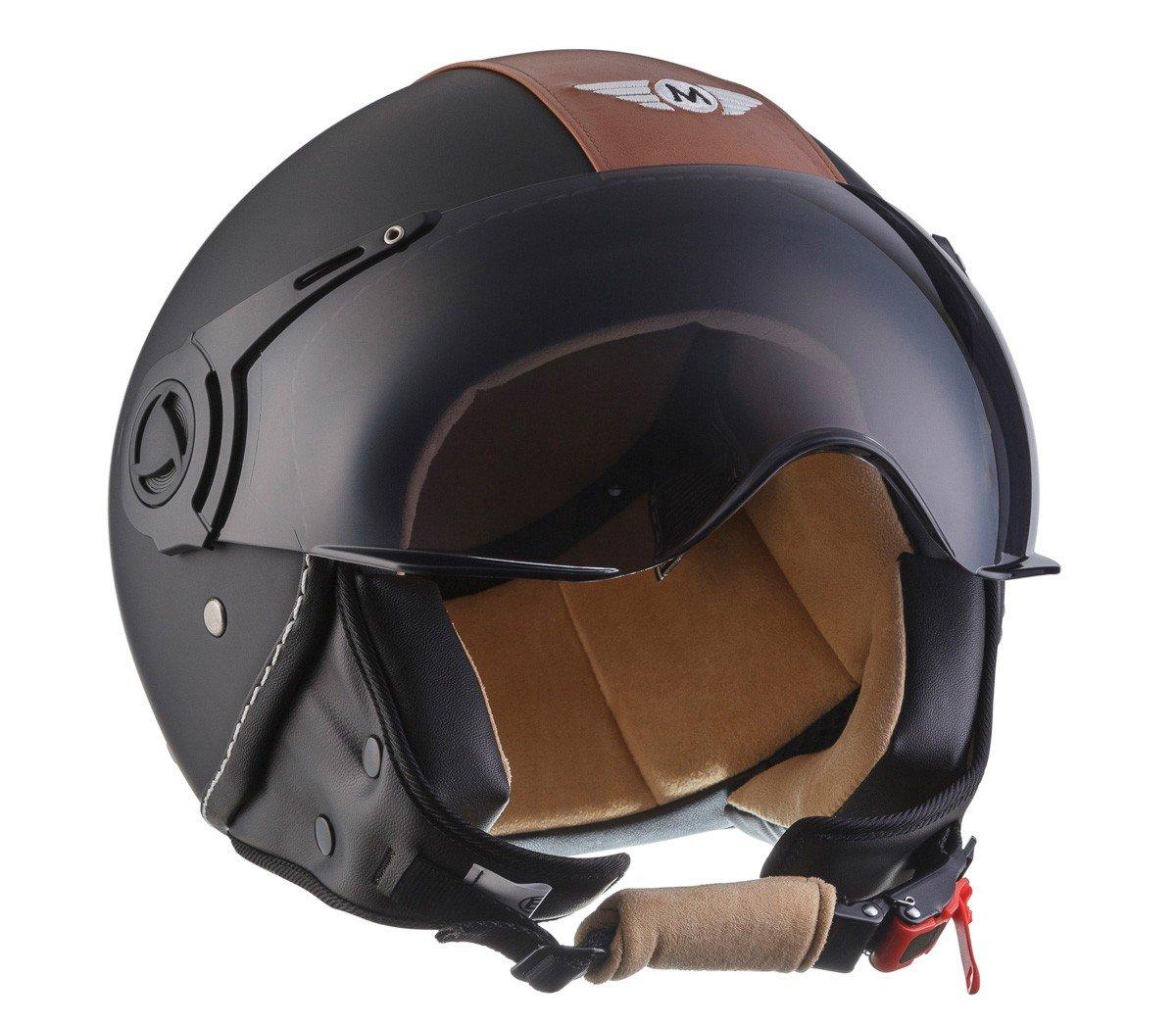 Amazon.es: Moto Helmets H44 - Helmet Casco de Moto, Negro/Marrón, M (57-58cm)