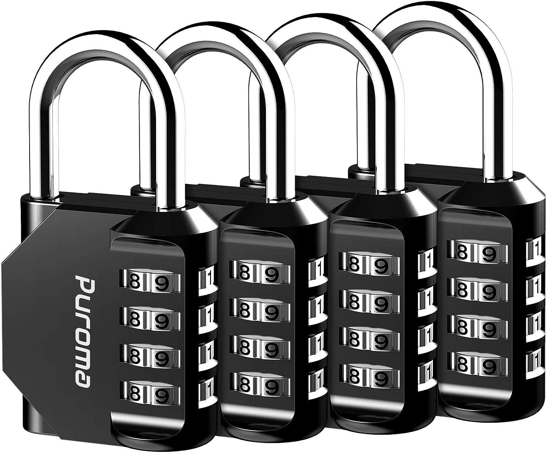 Puroma 4 Pack Combination Lock 4 Digit Outdoor Waterproof Padlock for School Gym Locker, Sports Locker, Fence, Toolbox, Gate, Case, Hasp Storage (Black) - -