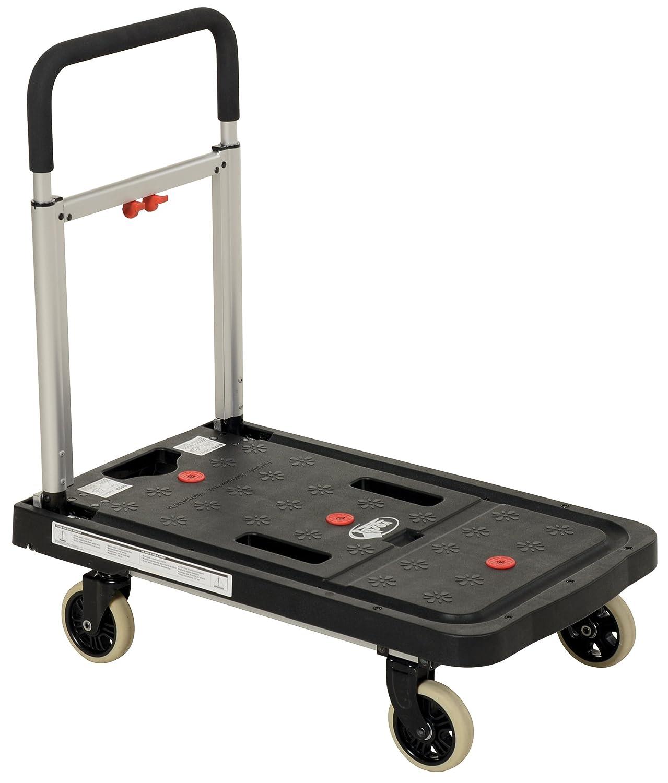 Vestil FF-FPT-1627 Fold Flat Plastic Cart, 26.75 Length, 16.25 Width, 36.5 Height, 300 lb, Black