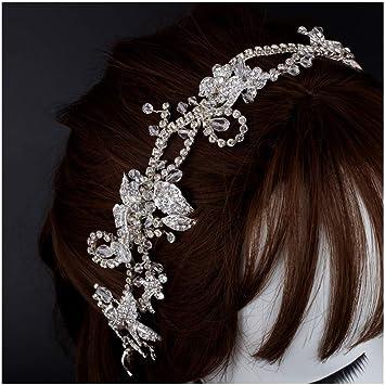 674b794df6f Amazon.com   SWEETV Gold Crystal Wedding Headband Handmade Pearl Hair Band  Headpiece Bridal Hair Accessories for Women   Beauty