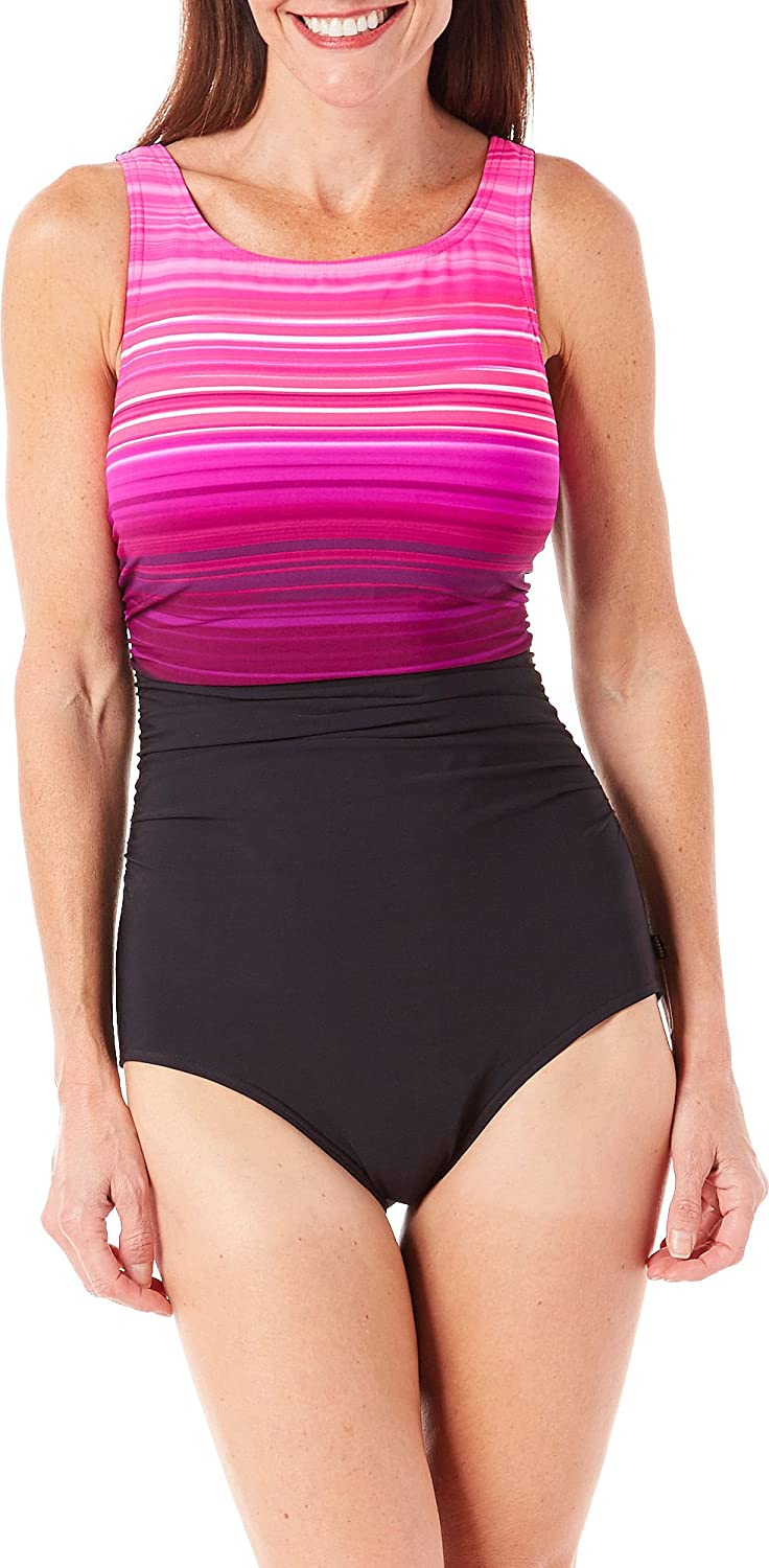 5da159bdc90916 Reebok Women's Desert Rays High Neck Constructed One Piece Swimsuit, Pink,  14 at Amazon Women's Clothing store: