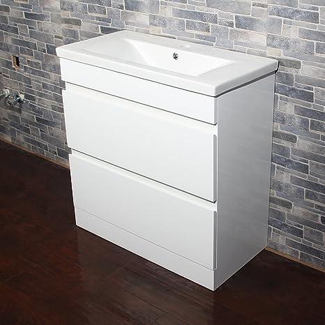 810 mm blanco brillante mueble y lavabo de cerámica armario de baño con cajones muebles de