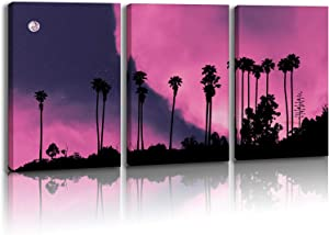 Hasakie Wall Art For Living Room black tree Pink sky moon Canvas Wall Decor for Home artwork Painting 12