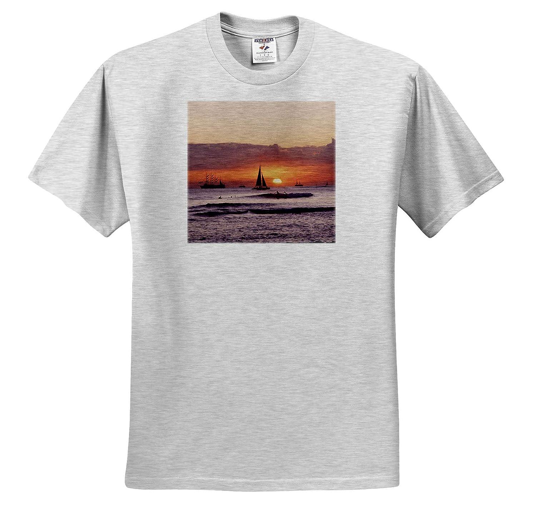 Hawaii Oahu 3dRose Danita Delimont ts/_314801 Hawaii Waikiki Adult T-Shirt XL Sunset
