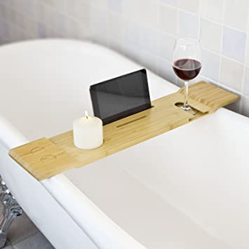 SoBuy FRG104-N, Bamboo Bathtub Rack, Bath Tub Shelf Tray with iPad