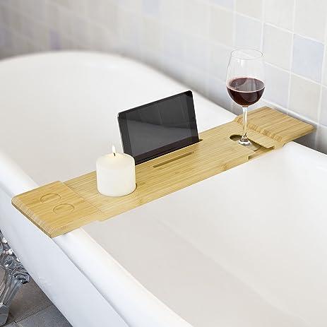 Amazon.com: SoBuy?? Bamboo Bathtub Rack, Bath Tub Shelf Tray with ...