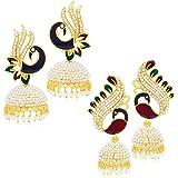 Sukkhi Shimmering Peacock Jhumki Gold Plated Set of 2 Pair Earring Combo For Women