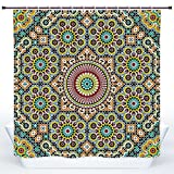 SCOCICI Fun Shower Curtain,Moroccan Decor,Aged old Arabic Design Arabian Cultural Engraving Art History Tourist Attraction,Polyester Shower Curtains Bathroom Decor Set with Hooks