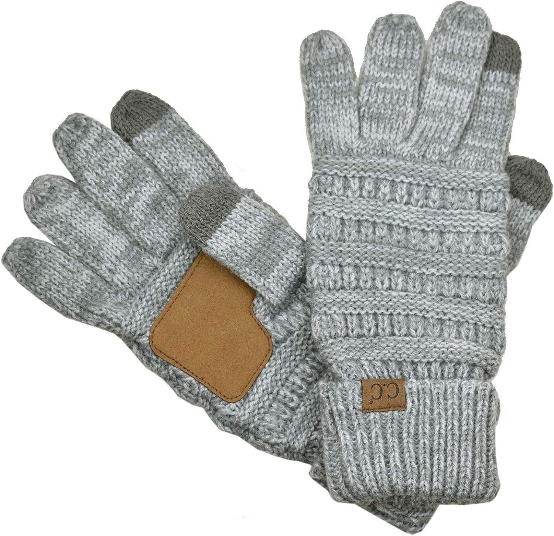 Mens Premium Knit Texting Gloves Grey