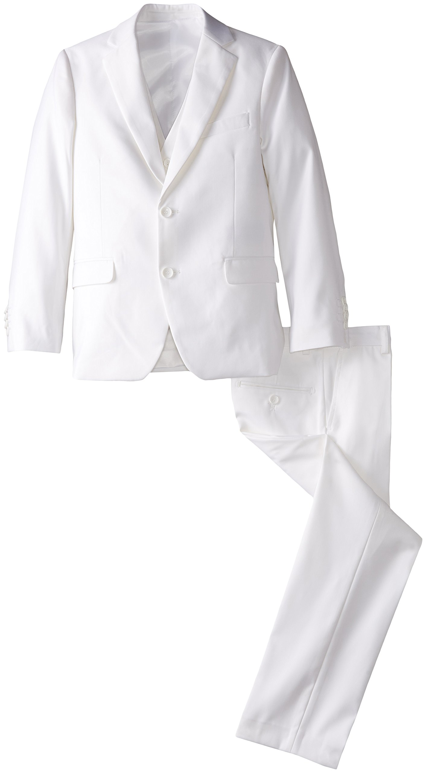 American Exchange Big Boys' Boys Solid Vested Suit, White, 18