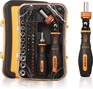 Magnetic Screwdriver 61 in 1 Set with Disassemble Ratchet Socket Wrench & Screw Bits,Household Repair Tool Kits for Computers,Electronic Devices,Furniture