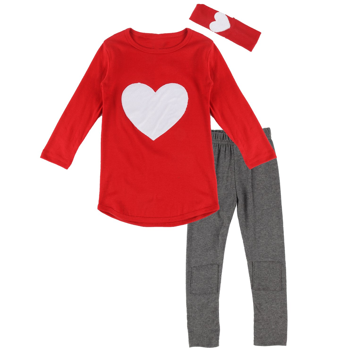 puseky Toddler Baby Girls Heart Long Sleeve Shirt Leggings Pant & Headband Outfits Set (3T, Red)