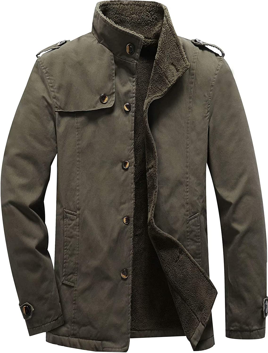 Vcansion Men's Winter Cotton Fleece Lined Jacket Coat Single Breasted Outerwear: Clothing