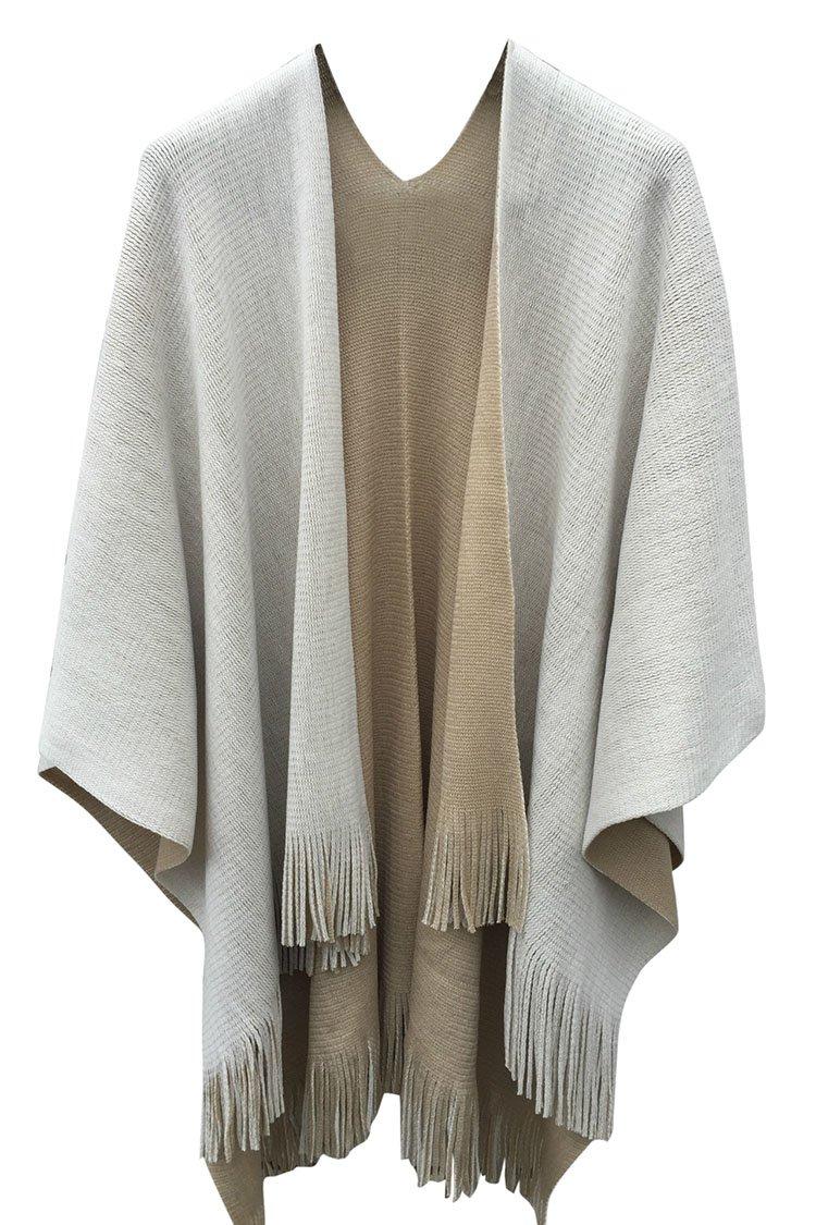VamJump Women Winter Knit Reversible Scarves Coat Oversized Blanket Shawl Scarf ,Beige ,One Size