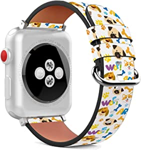 Compatible with Apple Watch - 38mm / 40mm (Serie 5,4,3,2,1) Leather Wristband Bracelet with Stainless Steel Clasp and Adapters - Dog Pet Bone