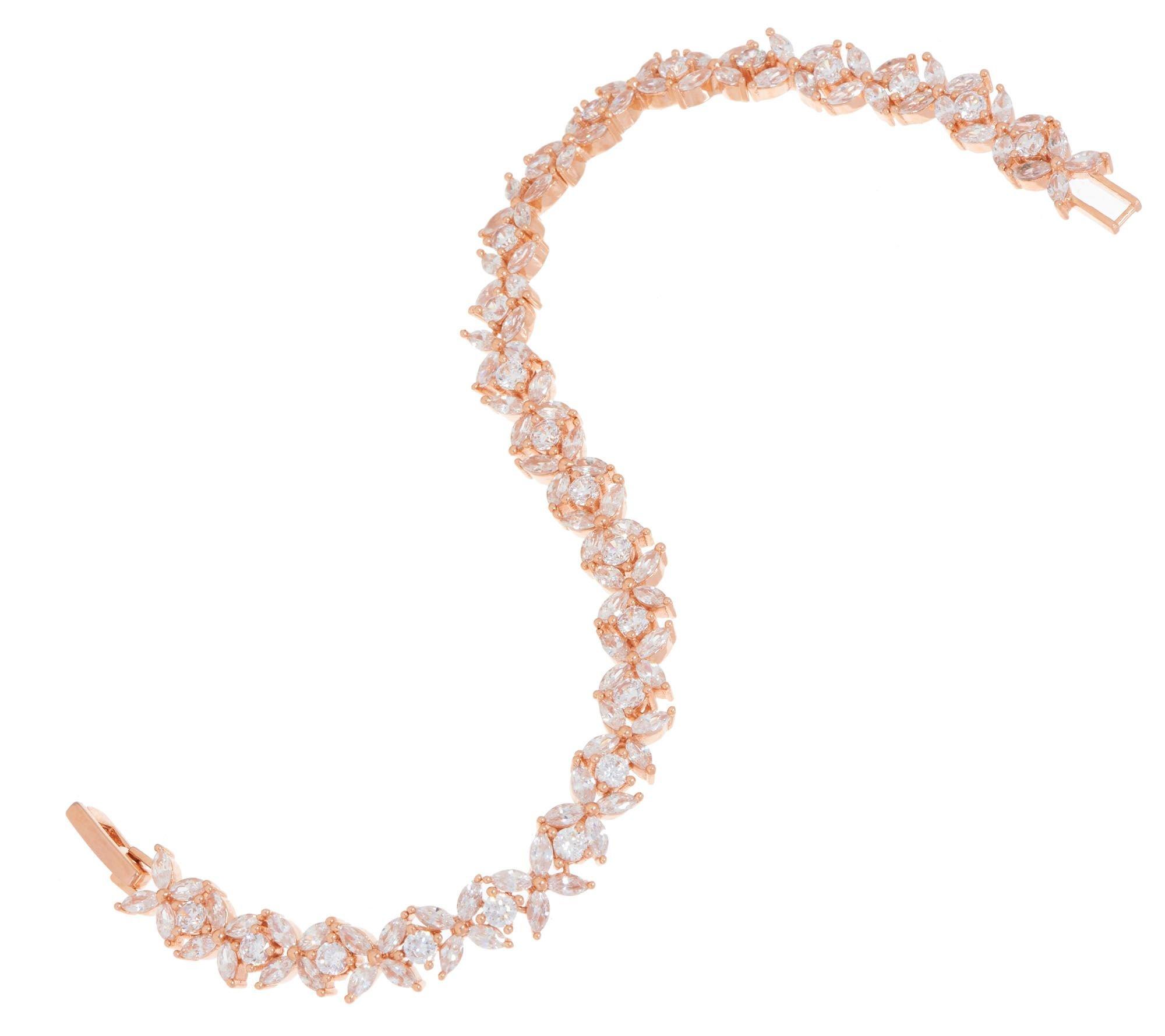 Smjewels 5.60 cttw D/VVS1 Diamond 14K Rose Gold Plated Flower Design Tennis Bracelet