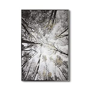 Lamplig Black and White Wall Art Hand Painted Oil Painting Large Framed Canvas Print 31.4 x 47.2 Inch Tree Picture Forest Artwork Gold Leaves Home Decor for Living Dining Room Bedroom, Ready to Hang