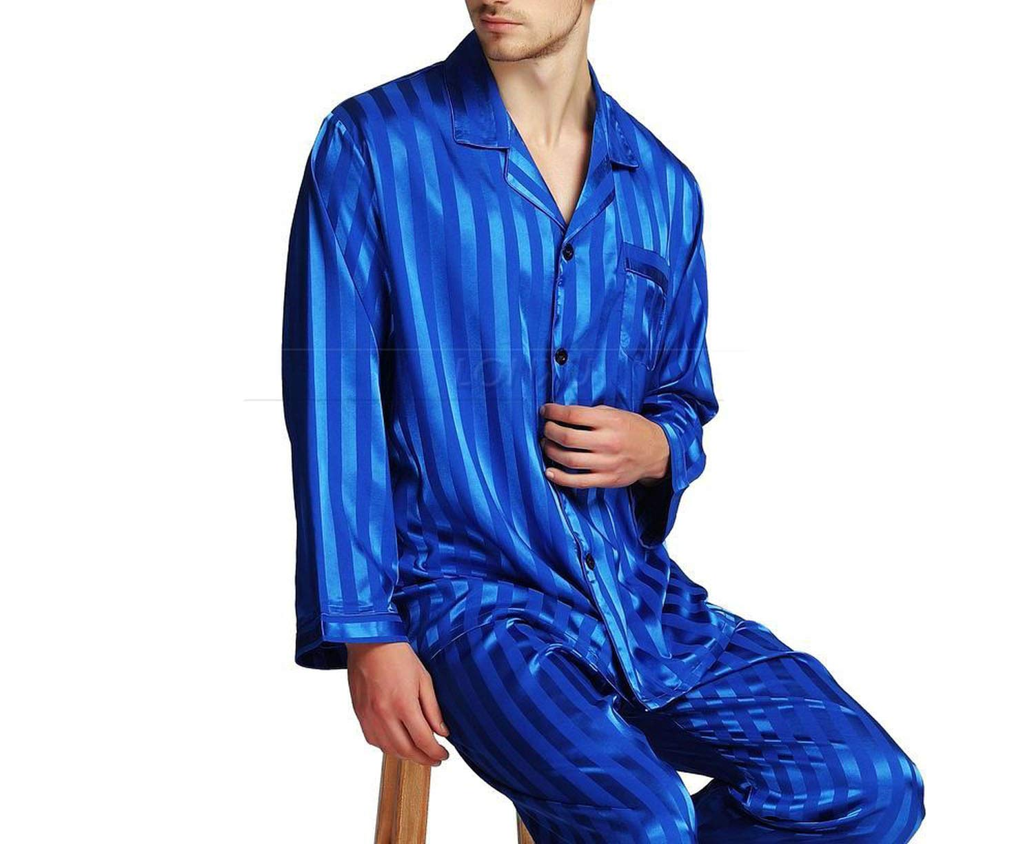 Mens Silk Satin Pajamas Set Pajama Pyjamas Sleepwear Set Loungewear,Invie,XXXL