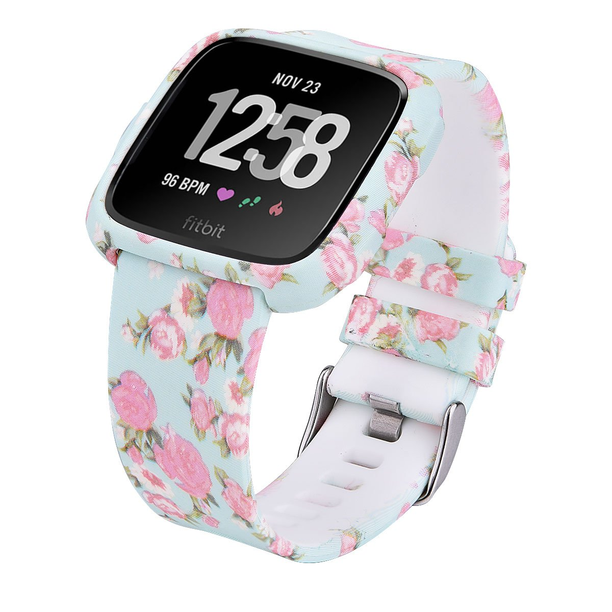 Compatible Fitbit Versa Bands for Women Men- CAGOS Sport Silicone Strap Replacement Bands Bracelet Wristband with TPU Protective Face Cover Case for Fitbit Versa Smartwatch (Pale Blue Rose, Small)