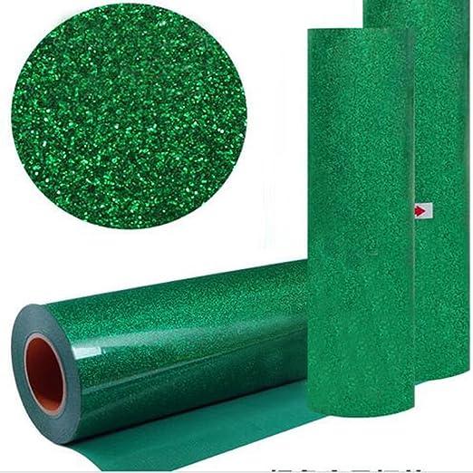 hoho] verde color con purpurina transferencia de calor de vinilo película calor prensa corte Plotter de Corte por DIY camiseta 50cm*500cm / 20*197 inches verde: Amazon.es: Hogar