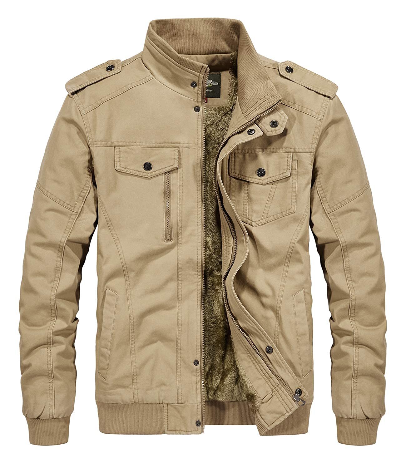 RongYue Men's Winter Thicken Military Jacket Cotton Stand Collar Outwear Coats