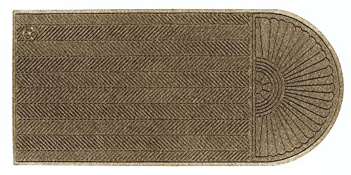 M A Matting 2243 Waterhog Eco Grand Elite PET Polyester Fiber Single End Entrance Indoor Outdoor Floor Mat, SBR Rubber Backing, 5-1 2 Length x 3 Width, 3 8 Thick, Khaki