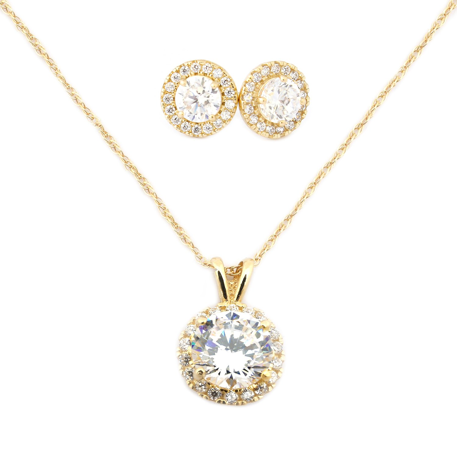 14k Yellow Gold Cubic Zirconia Halo Necklace and Earrings Set - 18''