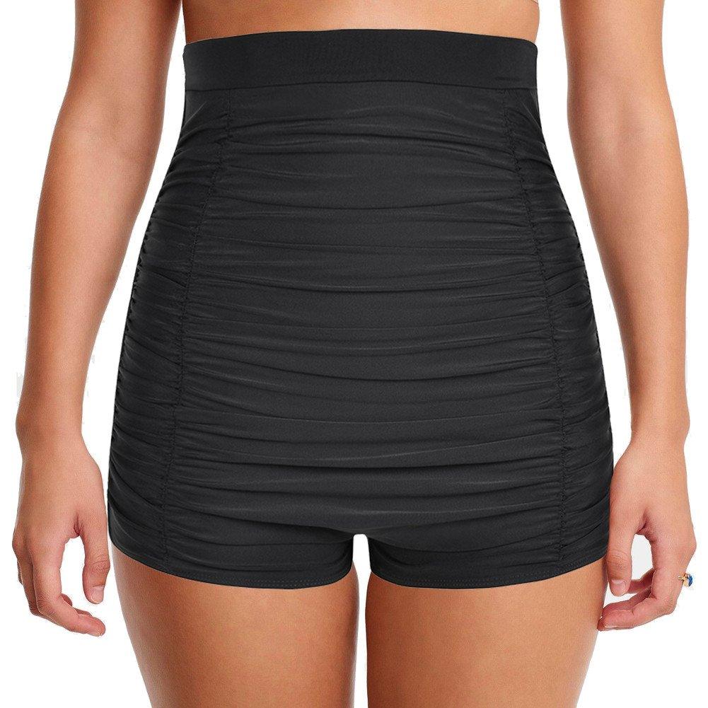 Hilor Women's Retro Ultra High Waisted Swim Bottom Boy Leg Tankini Shorts Ruched Swimwear Briefs Black 10