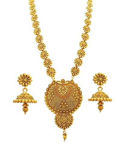 444f10f6665 Buy BFC-Buy for Change Traditional and Ethnic Flower Designer Gold Plated Long  Necklace Set for Woman and Girls. Online at Low Prices in India | Amazon ...