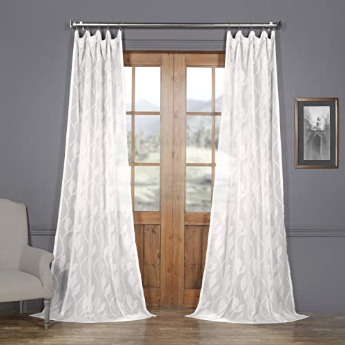 HPD Half Price Drapes SHCH-11729-96 Patterned Faux Linen Sheer Curtain 1 Panel , 50 X 96, Avignon Vine